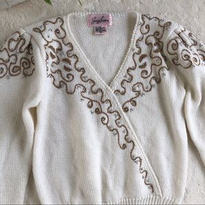 Vintage Jacklyn Smith bream gold beaded sweater